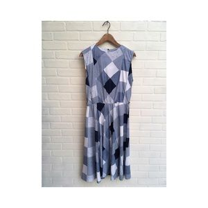 Vintage Polyester Blue Large Checkered Dress